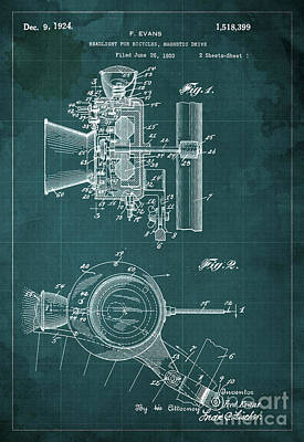 Headlight For Bicycles, Magnetic Drive Patent 1920 Print by Pablo Franchi