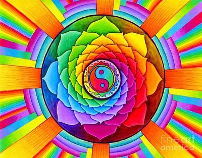 Chakra Rainbow Drawing - Healing Lotus by Rebecca Wang