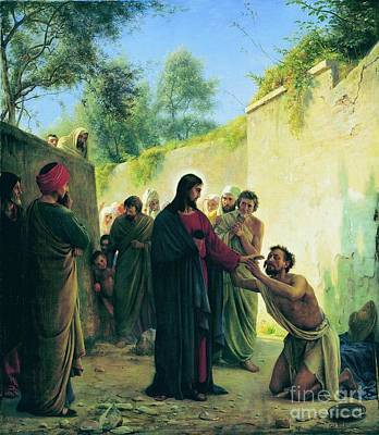 Carl Bloch Painting - Healing Of The Blind Man by MotionAge Designs