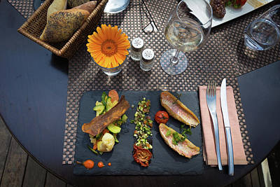 Table Wine Photograph - Health Fish Dish Served At A French Restaurant by Semmick Photo