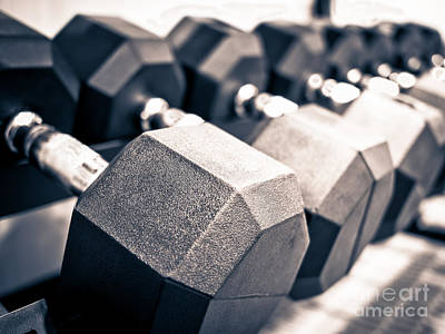 Healthclub Free Weights Dumbbell Rack Print by Paul Velgos