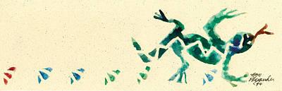 Lino Painting - Hear The Lizard by Annie Alexander
