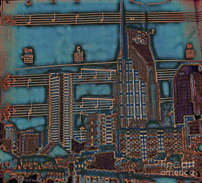Nashville Skyline Painting - Hear The Music? by Linda M Gardner