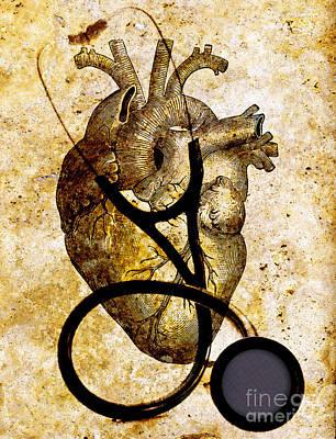 Heart Illustration Photograph - Heart & Stethoscope Illustration by George Mattei