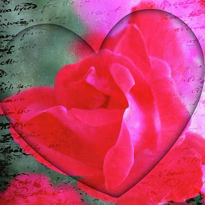 Heart And Rose Print by Cathie Tyler