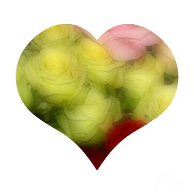 Roses Photograph - Heart Bouquet Of Pink Yellow And Red Roses by Rose Santuci-Sofranko