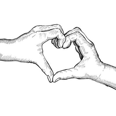 Doodle Drawing - Heart Hands by Karl Addison