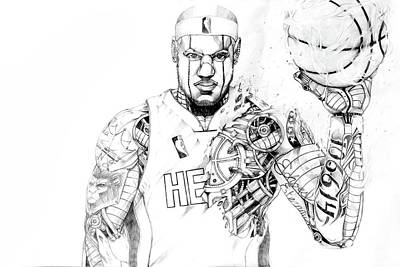 Lebron James Drawing - Heart In The Game by Chivas Davis