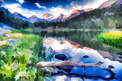 Yosemite Painting - Heart Lake In Eastern Sierra Nevada Mountains Of California by Lanjee Chee
