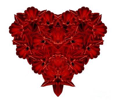 Heart Of Flowers T-shirt Print by Edward Fielding