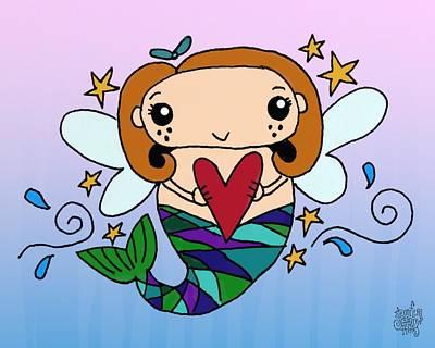 Angel Mermaids Ocean Mixed Media - Heart Of The Ocean by Jennifer Heath Henry