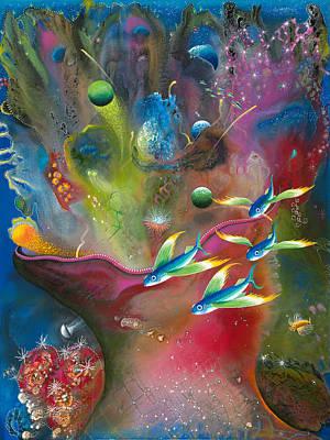 Angel Mermaids Ocean Painting - Heart Of The Reef by Lee Pantas