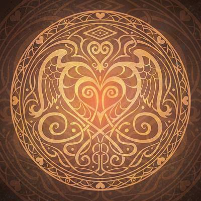 Mystical Digital Art - Heart Of Wisdom Mandala by Cristina McAllister