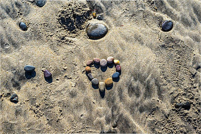 Heart Shaped Rock Photograph - Heart On The Sand by Joseph S Giacalone