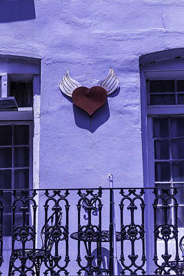 Heart On Wall Print by Garry Gay