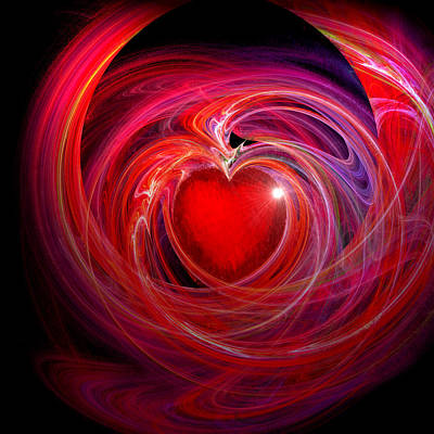 Abstract Hearts Digital Art - Heart Star by Michael Durst