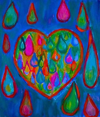 Green Painting - Heart Tears by Kendall Kessler