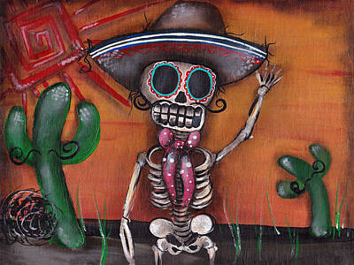 Sugar Skull Painting - Heat Wave by  Abril Andrade Griffith