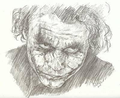 Heath Ledger Drawing - Heath Ledger As The Joker by Carla  Stroud