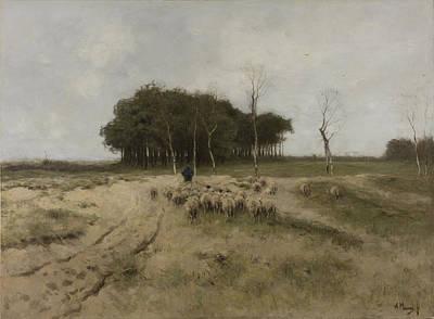 Dutch Shepherd Painting - Heath Near Laren Holland  by Anton Mauve