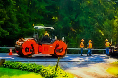 Road Runner Painting - Heavy Tandem Vibration Roller Compactor At Asphalt Pavement Works For Road Repairing 2 by Lanjee Chee