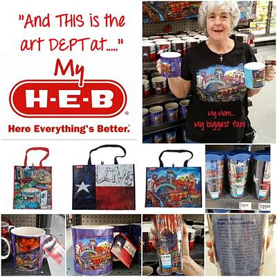 Recycled Painting - Heb Recycle Bags With My Art by Patti Schermerhorn
