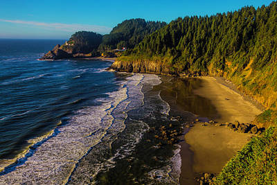 Heceta Head Lighthouse And Beaches Print by Garry Gay