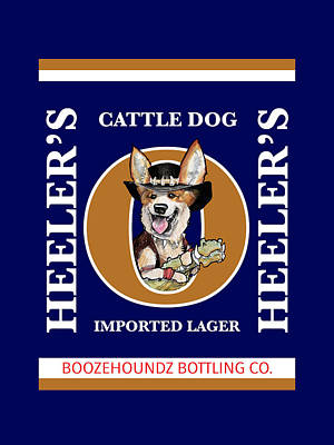Cattle Dog Drawing - Heeler's Cattle Dog Imported Lager by John LaFree