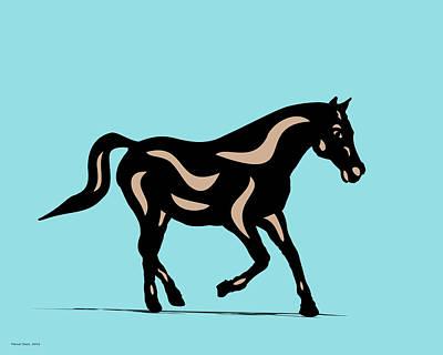 Horse Digital Art - Heinrich - Pop Art Horse - Black, Hazelnut, Island Paradise Blue by Manuel Sueess