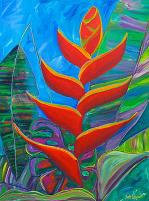 Heliconia Painting - Heliconia by Beth Cooper