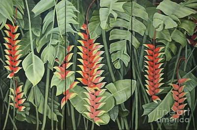 Heliconia Painting - Heliconia Forest Triptych by Mary Deal