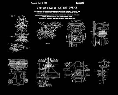 Aviator Drawing - Helicoptor Patent 1932 Black by Bill Cannon