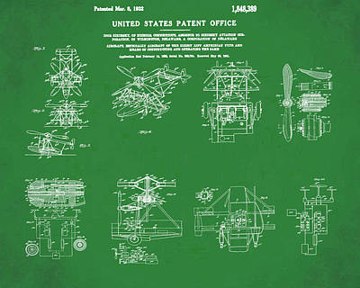 Aviators Drawing - Helicoptor Patent 1932 Green by Bill Cannon