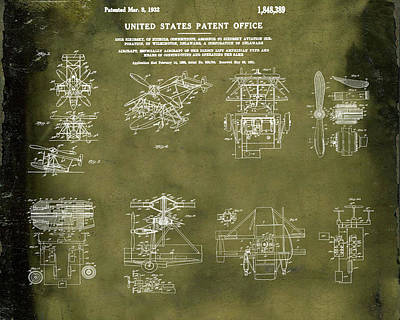 Aviators Drawing - Helicoptor Patent 1932 Grunge by Bill Cannon