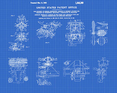 Aviator Drawing - Helicoptor Patent 1932 Red Blueprint by Bill Cannon