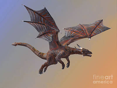 Hell Dragon Flying Print by Corey Ford