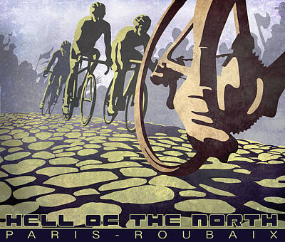 Digital Painting - Hell Of The North Retro Cycling Illustration Poster by Sassan Filsoof