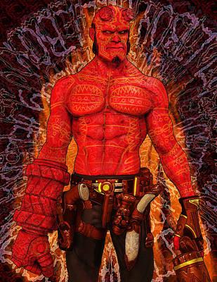 Hellboy Digital Art - Hellboy Fan Art by Rene Lopez