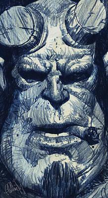 Hellboy Digital Art - Hellboy by Thomas Fluharty