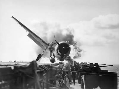 Enterprise Digital Art - Hellcat Aircraft Slams Into U S S Enterprise Carrier  1943 by Daniel Hagerman