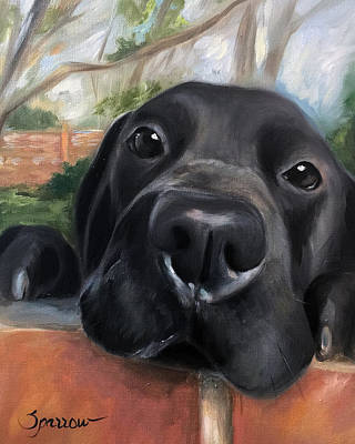 Labs Painting - Hello by Mary Sparrow