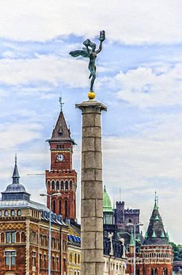 Sweden Digital Art - Helsingborg Cityscape Digital Painting by Antony McAulay