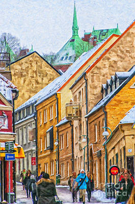 Sweden Digital Art - Helsingborg Narrow Street Painting by Antony McAulay