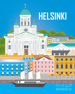 Helsinki Finland Digital Art - Helsinki, Finland Vertical Wall Art By Loose Petals by Karen Young