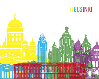 Helsinki Finland Digital Art - Helsinki Skyline Pop by Pablo Romero