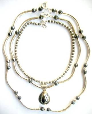 Hematite With Bali Silver Original by Pat Stevens