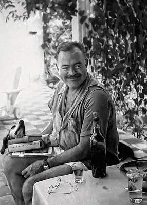 Hemingway And His Dog Negrita Painterly Print by Daniel Hagerman