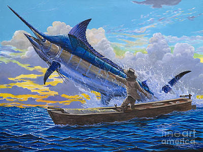 Old Man Fishing Painting - Hemingways Story by Anthony C Chen