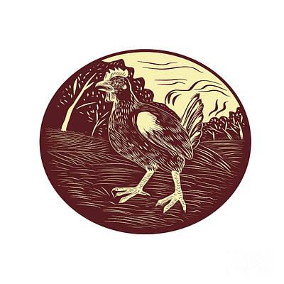 Hen Farm Oval Woodcut Print by Aloysius Patrimonio