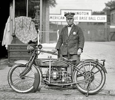 Henderson Motorcycle Cop - Washington D. C.  1922 Print by Daniel Hagerman
